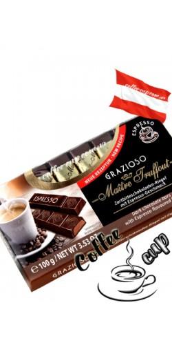 Шоколад Maître Truffout Grazioso Espresso черный 100g