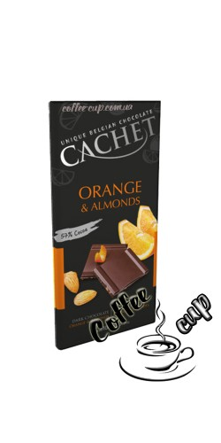 Шоколад Cachet Dark Chocolate Orange and Almond 100g