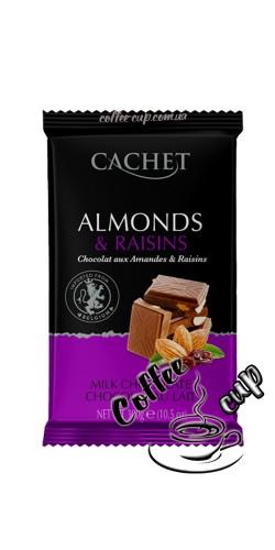 Шоколад Cachet Milk Chocolate with Almonds & Raisins 300g