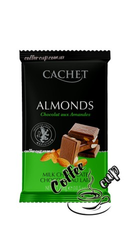 Шоколад Cachet 32% Milk Chocolate Bar with Almonds 300g
